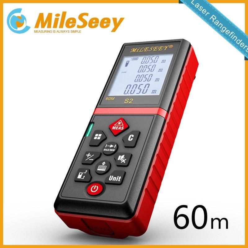 Mileseey s2 60m laser rangefinder measuring tool laser distance meter Mute Button diastimeter Red<br>