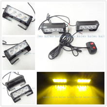 Yellow 2*4 LED 8W Car Fog Light Emergency Vehicle Strobe Lights Car Flash Warning Lights 12V DC car styling Grille/flash Lamp