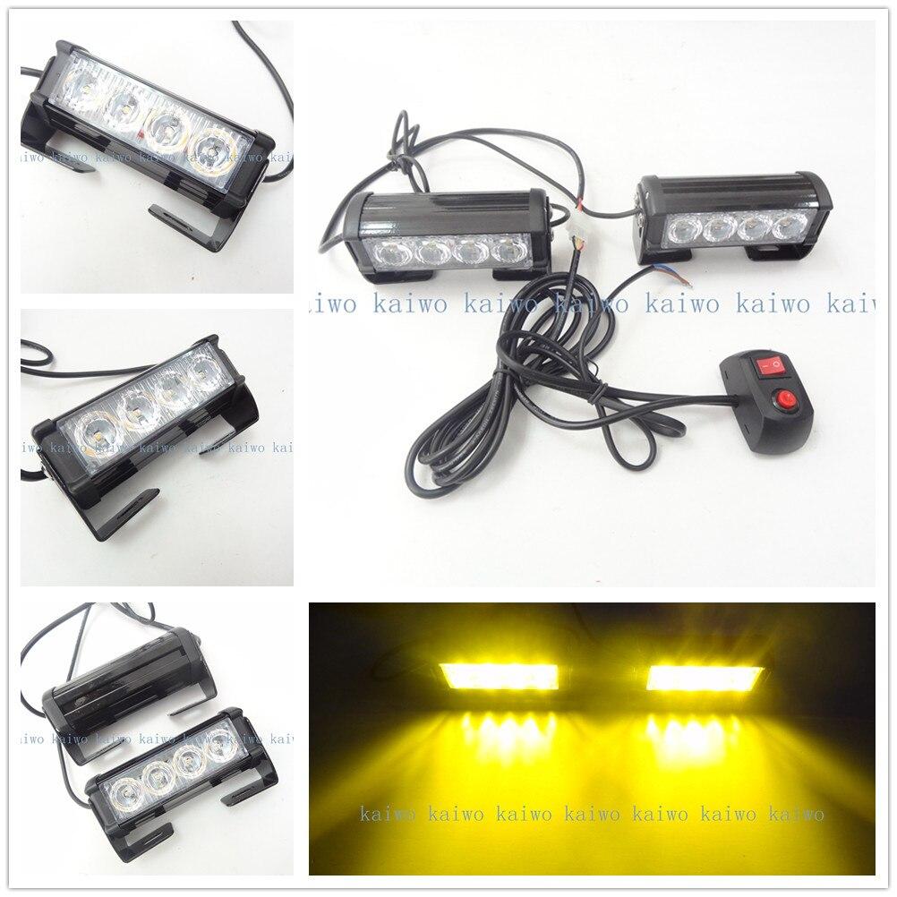 Yellow 2*4 LED 8W Car Fog Light Emergency Vehicle Strobe Lights Car Flash Warning Lights 12V DC car styling Grille/flash Lamp<br><br>Aliexpress