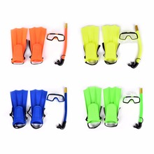 Fit Szie 30-35 Kids Diving Mask Snorkel&Glasses&Fins Set Silicone Swimming Pool Equipment(China)