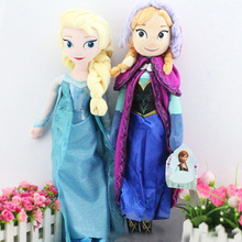 Good Quality 50cm Snow Queen Fro-zen Elsa And Anna Princess Aisha Plush Toy Doll Lovely Girl Christmas Gifts  Plush Doll