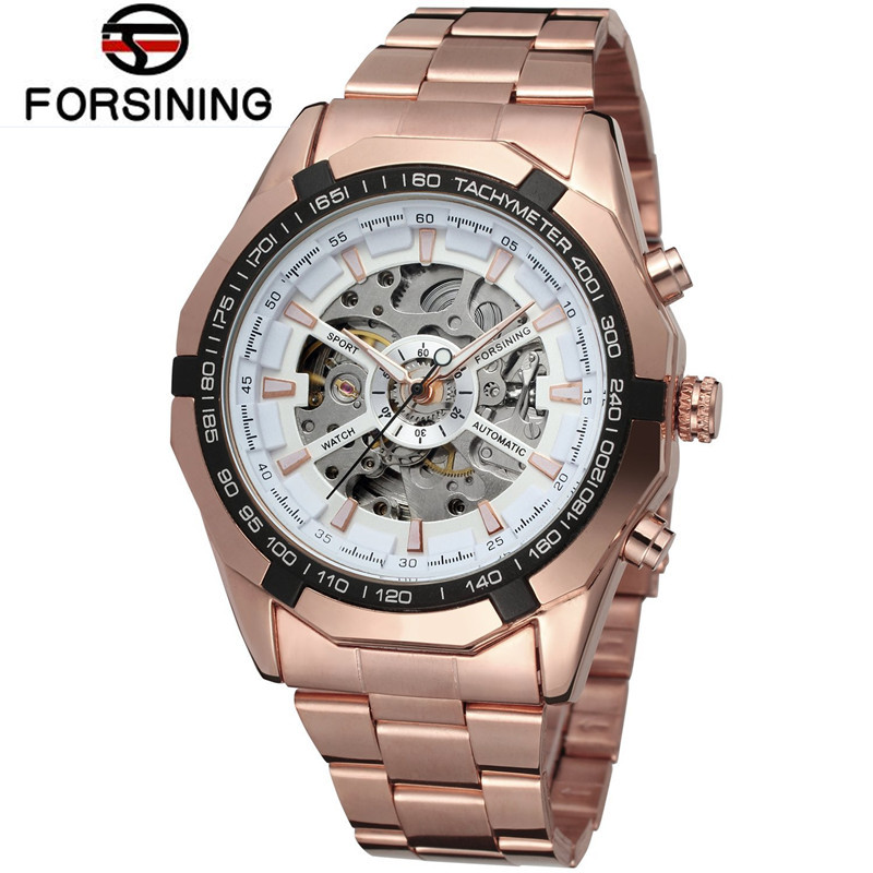 2017 Fosining Orologio Uomo Mens Watches Brand Luxury Rose Gold Skeleton Auto Mechanical Watch Wristwatch  Free Ship<br><br>Aliexpress
