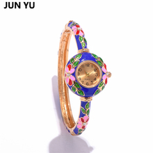 JUNYU Fashion Women Watch Flower Enamel  Bracelet Watches Painting Ladies Ethnic Bangle Watch for Women 2017 Newest Party