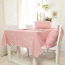 100% Cotton Zakka Style Pink Stripe Table Cloth  High Quality Tablecloth Table Cover manteles para mesa Free Shipping