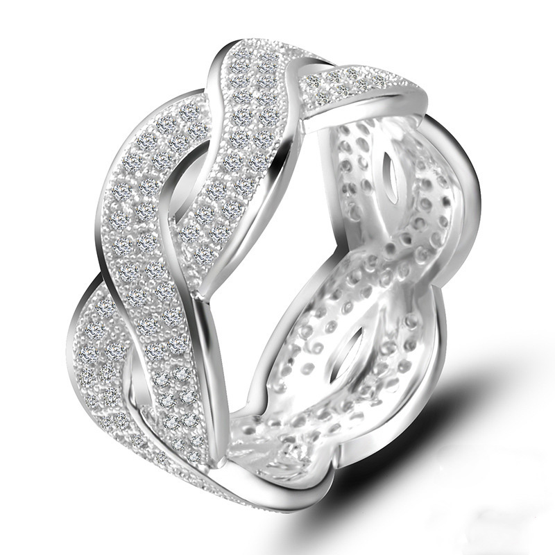 Hollow Sliver Color Cross Cubic Zirconia Big Rings Fashion Jewelry Wedding Party