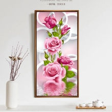 Hot Sales 5D Needlework Diy Painting Cross Stitch Pink Rose Diamond Embroidery Flower Vertical Print round Drill Home Decor