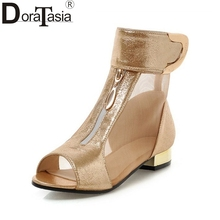 Sandals Sexy Gauze Peep Toe Summer Boots Loop And Metal Decoration Design Solid Thick Heel Shoes Women 3 Colors