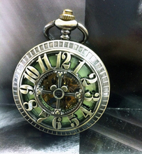 Big Arabic Number Hollow Cross Design Vintage Cut-out Bronze Mechanical Pocket Watch(China)