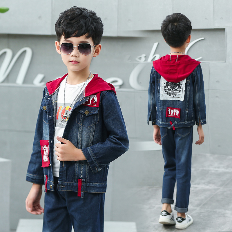 FYH Spring Autumn kids Clothing High Quality Children Denim Clothing Sets Stylish Boys Hooded Jacket &amp; Jeans 2pcs Boys Suit Sets<br>
