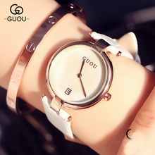 GUOU AAA Classic Simple Style Ulta Thin Top Famous Luxury Brand Calendar Quartz Watch Wristwatch Women Leather Watches GU003(China)