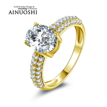 AINUOSHI 10k Solid Yellow Gold Wedding Ring 2 ct Oval Cut AAA+ Cubic Zirconia Bridal Jewelry Lovers Promise Wedding Rings Band