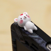 New Arrival 1.5 cm white cat lying posture 3.5mm Universal phone dust plug decoration ornament action figure free shipping