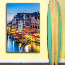 Printing Oil Painting Wall Art, Wall Decor, Wall Painting Venice Italy Sunset Vertical painting Nice Painting for wall picture