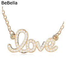 BeBella 18KGP LOVE necklace made with Czech crystal for women gift(China)