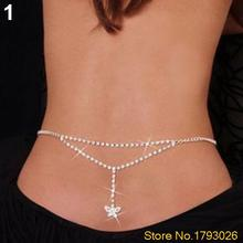 SEXY SILVER RHINESTONE BELLY SLIM WAIST CHAIN LOWER BACK FOR BIKINI 4TJL(China)