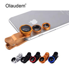 3 In 1 Mobile Phone Macro Fish Eye Lens Universal Wide Camera Lenses for iPhone 4 4S 5 5C 5S 6 Plus Samsung Galaxy S3 S5 CL318(China)
