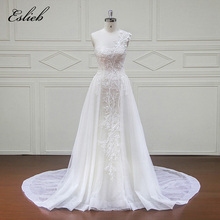 Amazing One Shoulder New Design Bridal Gown Beautiful Lace Scoop Neckline Long Wedding Dress Zipper Back Chapel Train(China)