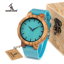 BOBO BIRD WC28 Mens Blue Leather Band Antique Wood Watches With Blue Anlaogue Display Bamboo Wooden Watches in Gift Box