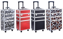 3 in 1 Rolling Makeup Train Case Professional Trolley Box Aluminum Organizer case with inner tray 4 Colors