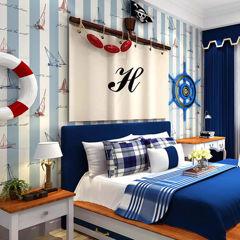 Boys Childrens Room Wallpaper Mediterranean Style Blue Vertical Stripes Cartoon Sailing Boat Non-woven Wall Papers Home Decor<br>