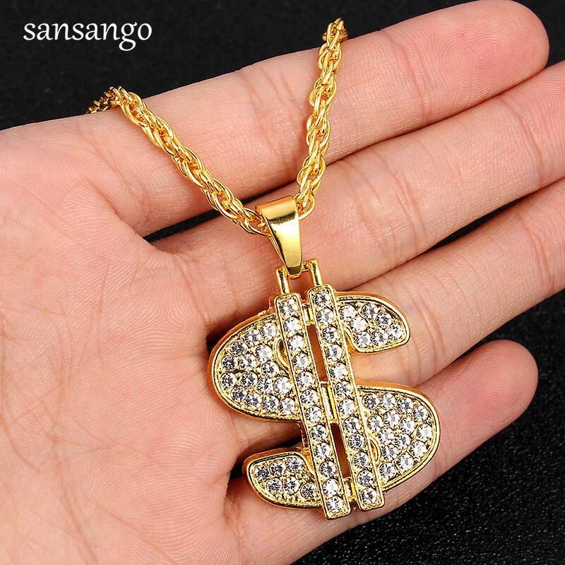 Trendy US Dollar Money Pendant Necklace Shellhard Luxury Gold Color Rhinestone Long Twist Chain Necklace Hip Hop Men Jewelry