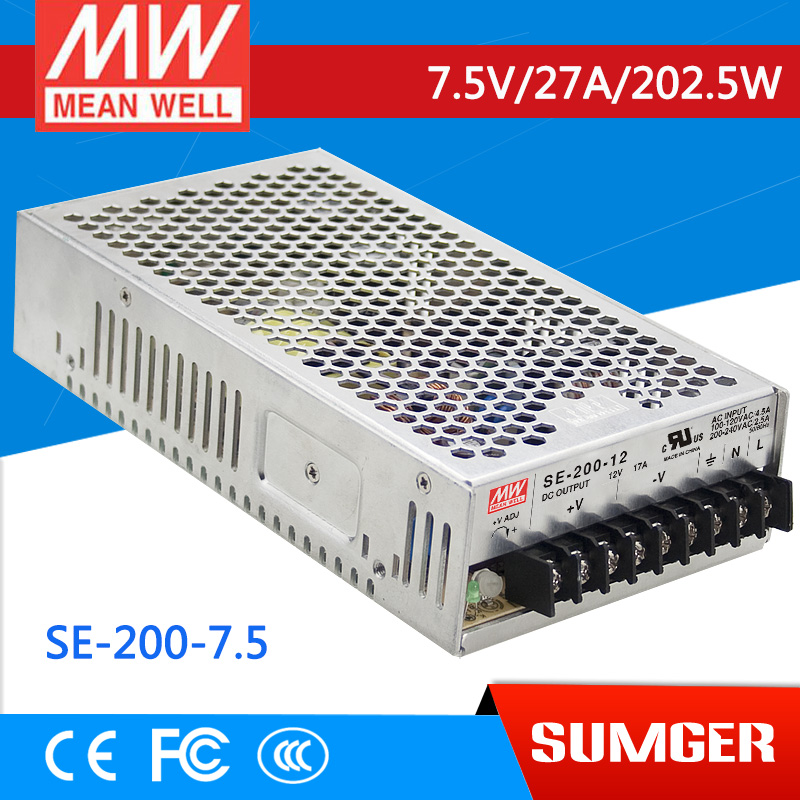 [MEAN WELL1] original SE-200-7.5 7.5V 27A meanwell SE-200 7.5V 202.5W Single Output Switching Power Supply<br>