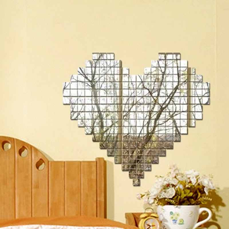 Acrylic Diy 3d Wall Sticker Bling Mosaic Mirror Heart Removable ...