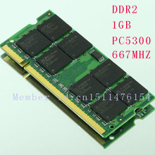 Notebook 1GB PC2-5300S DDR2-667 667 MHz 200pin DDR2 memory Laptop 1G PC2 5300 667 Notebook model SODIMM RAM pengiriman gratis