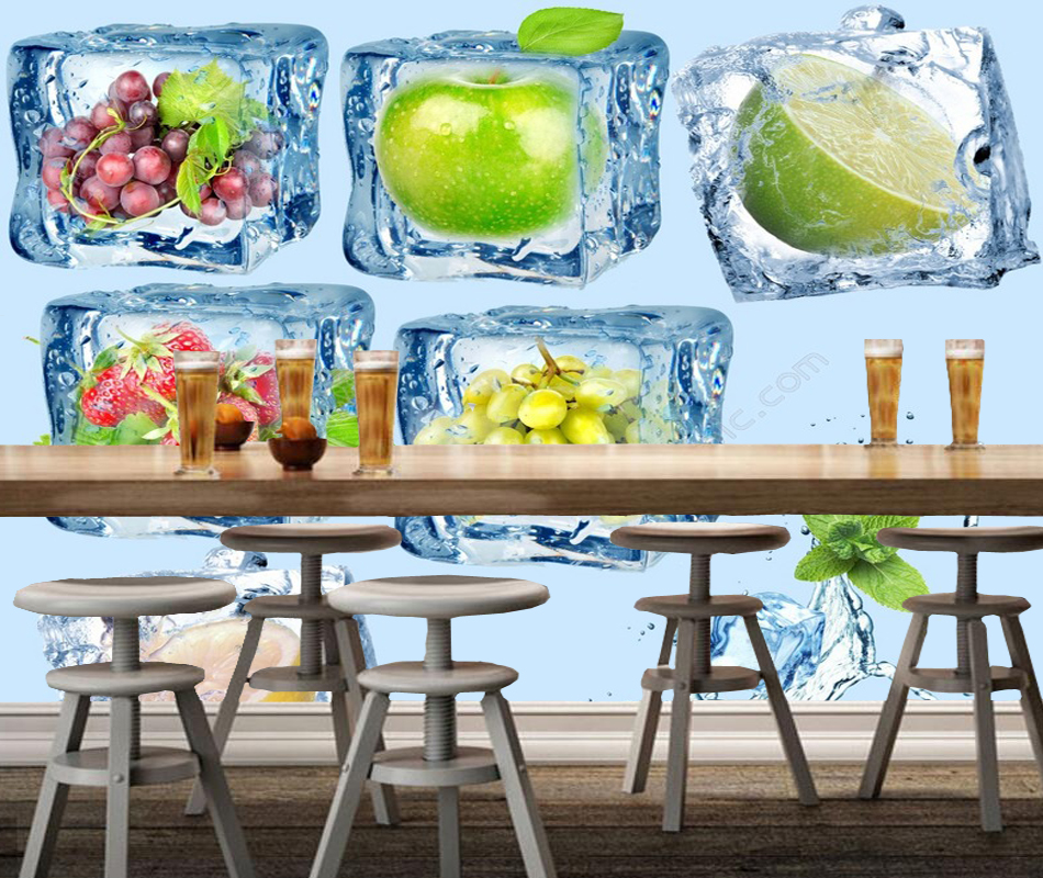 Modern photo wallpaper, fruit inside ice cubes,3d creative natural mural for living room restaurant dessert shop background wall<br>