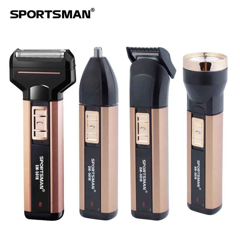 SPORTSMAN 4 IN 1 ElectricDouble Razor Nose Hair Trimmer Dryer Flashlight Hairdresser Rechargeable Multi-functional Sets<br>