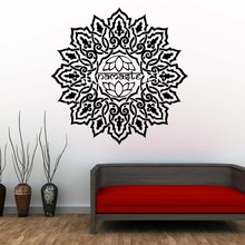 DCTOP Lotus Mandala Wallpaper Living Room Decorative Sticker Vinyl Art Home Decor Indian Pattern Wall Decals(China)