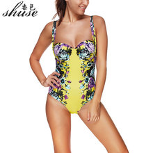 Push Up Swimsuit One Piece Suits Yellow  Bathing Suits Sexy Swimwear Women Bodysuits One-piece Sport Swimming Suits Ladies