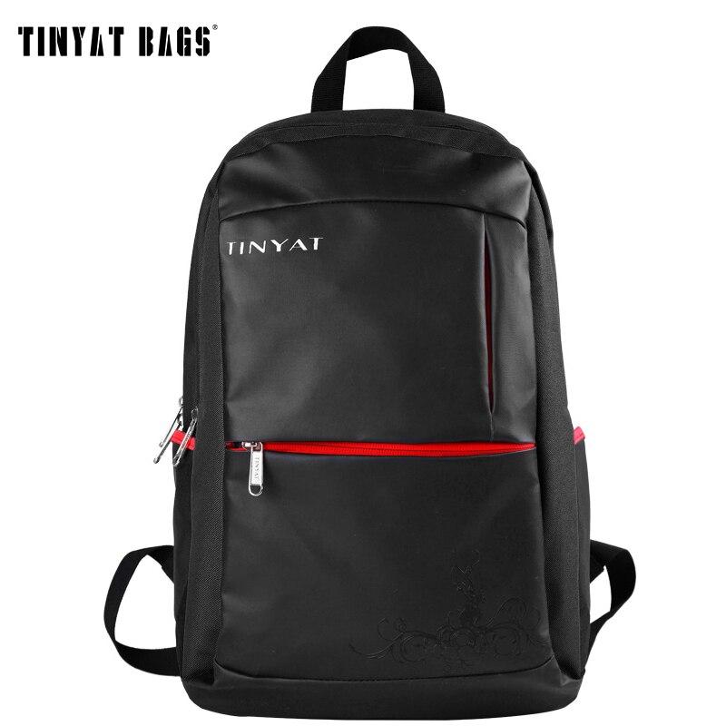 TINYAT Functional School Backpack Men 17 inch Laptop Computer Backpack Leather Waterproof  Backpack Mochila T122 Black<br><br>Aliexpress