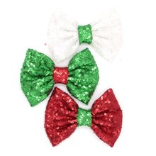 "10pcs/lot Chic Christmas Gift Red Green White Mixing Hair Bow 5"" Sequins Bow (NO Clip) DIY Hair Accessories Hair Flower Headwear(China)"