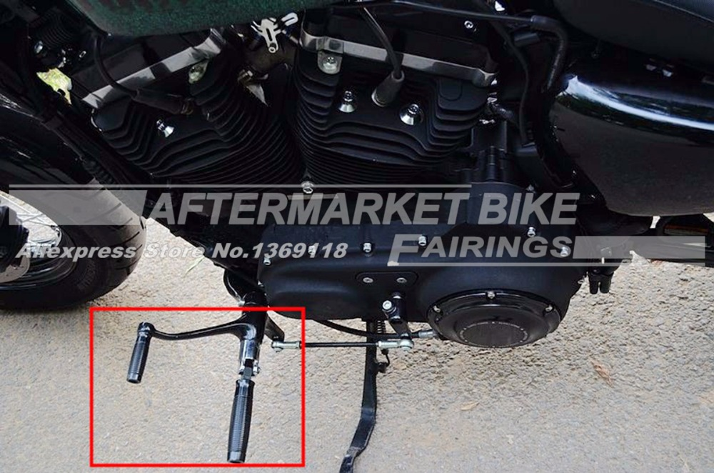 Black CNC Custom Foot Pegs Footpegs+CNC Shifter Shift Peg For Harley Sportster XL1200 883 Forty-Eight Softail Dyna Roda King<br>