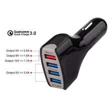 2017 Best Sale New Qualcomm Certified QC3.0 Quick Charge With Four USB Port Fast Car Charge portable charger Drop Shipping(China)
