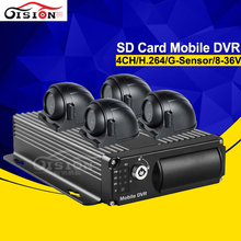 GISION H.264 Dual SD Car Mobile Dvr Recorder 4Channel Video/Audio Input CCTV Car Dvr+4PCS CCD Side/ Front Metal Camera Kits(China)