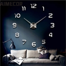 AIMECOR Top Grand  Wall Clock Clocks Watch Horloge Murale Diy 3D Acrylic Mirror Large Home Quartz Circular Needle Modern Jan 10