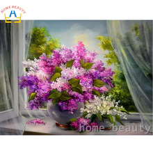 Oil painting calligraphy by numbers canvas brush figure drawing coloring by number flowers decor adult painting by numbers Y076