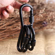10PCS EDC Outdoor Equipment Safety Hook Buckle With Lock Alloy Camping Gear Mosquetones Travel Kit Survival Tool Carabiner FW011(China)
