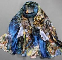 [SLKSCF] 180X50CM Digital Print floral silk scarves and shawls new style real silk scarf handkerchief pure silk hijabs capes