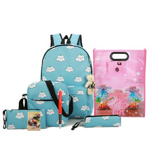 8 Pieces / Set Students Backpack Cute & Fashion  Cute Cartoon Small Cloud Pattern Large Capacity Student School Backpack Hot Sa