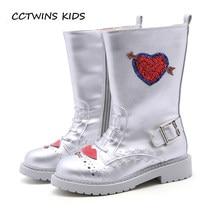 CCTWINS KIDS 2018 Autumn Girl Fashion High Boot Children Fashion Glitter  Martin Boot Boy Kid Black Silver Pu Leather Shoe H032 11bd3d9ff8d6