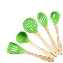 5 sets Silicone kitchen utensils wooden handle silicone kitchen utensils non-stick pots silicone kitchenware(China)