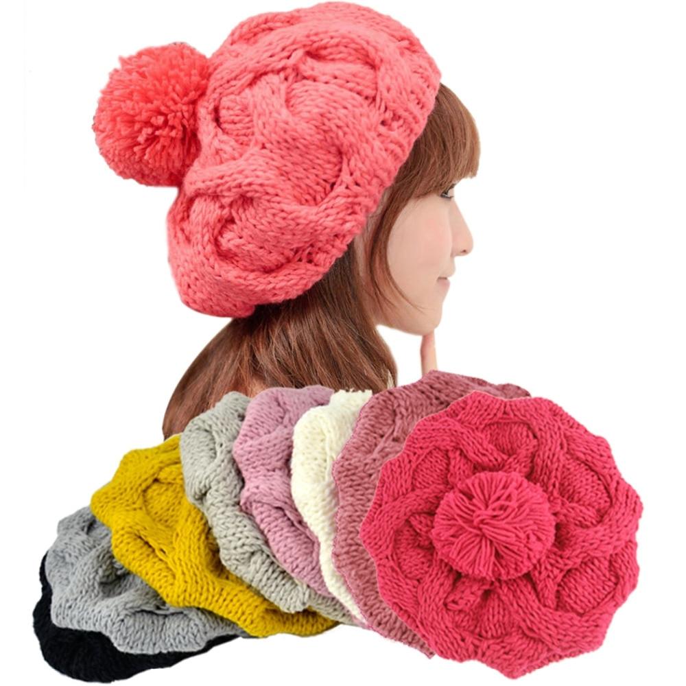 8 Colors Korean Womens Winter Warm Knit Wool Hat Beanie Crochet Warm Pumpkin Ball CapÎäåæäà è àêñåññóàðû<br><br><br>Aliexpress