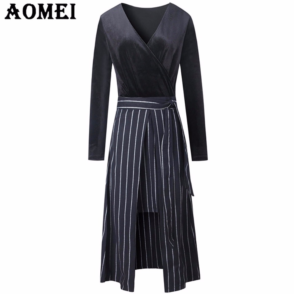 Detail Feedback Questions about Women Long Sleeve Casual Slit Dress ... 7c745185804a