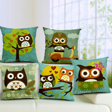 Outdoor Cushions  Cotton Linen Cartoon Version Of The Sweet Love Owls Pillow  Tablecloths  Printed