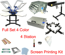 FAST Free shipping discount full set 4 color t-shirt screen printing kit press printer machine flash dryer expsoure stretcher