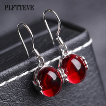 Buy Synthetic Corundum Drop Earrings Women Girls Silver Color Alloy Female Hanging Dangle Earring Fashion Ear Jewelry Brincos for $2.90 in AliExpress store