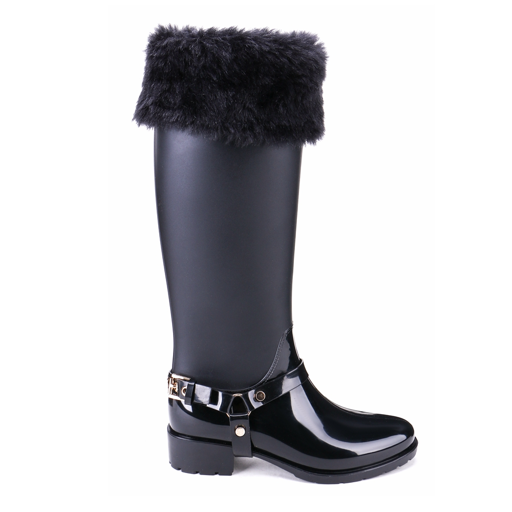 TONGPU Women Boots Matte and Glossy Buckle Knee-High Removable Plush Lining Waterproof Rain Boots 25-160TP<br>